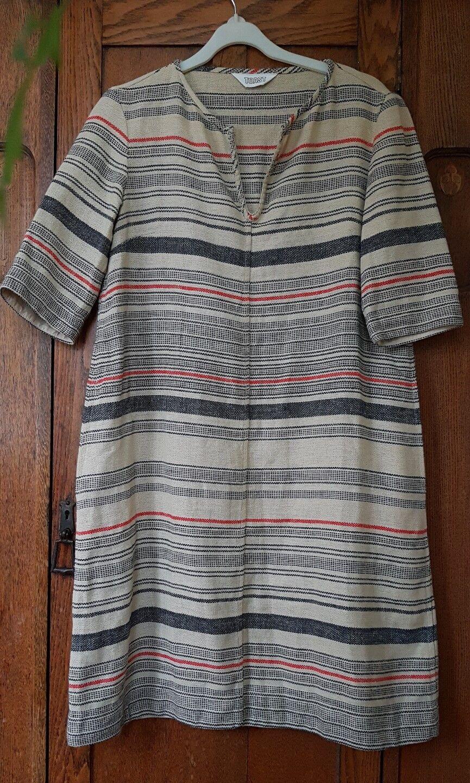 TOAST Beige Blu Rosso Stripe canapa Loose Fit Tunica Dress 8