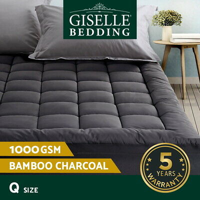 Giselle Bedding Pillowtop Mattress Topper Bed Cover 1000GSM Queen Charcoal