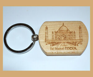 Set of Two(2) Teak Wood Engraved Taj Mahal Keychain Key Ring Souvenir from India