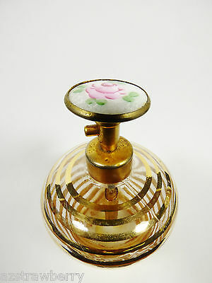 VTG Clear Gold Swirl Glass Round Perfume Cloisonne Top Atomizer  Vanity Bottle
