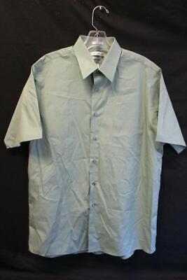 Clothing, Shoes & Accessories Shop For Cheap Men's Green Short Sleeve Full Button Down Dress Shirt By Van Heusen Size 16