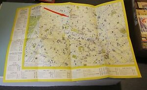 1956 Paris France Street Map Paris Metro Map Grand Hotel