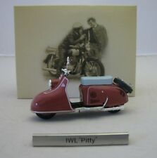 Model Motorcycle Scooter 1/24 east germany IWL Pitty red. GDR Motorbike. Atlas