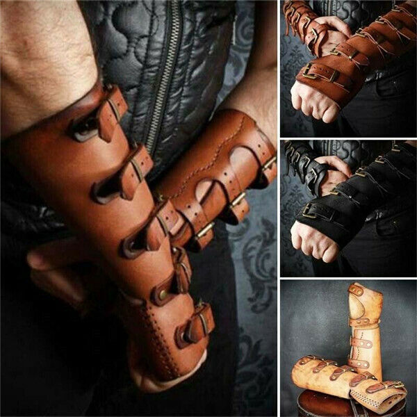 Men Bracers Male Stage PU Leather Gloves Bracers Outdoor Cosplay Performance