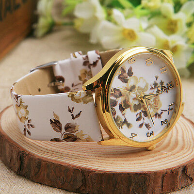 Fashion Women Girls Floral Flower Print Round Dial Wristwatch Watches