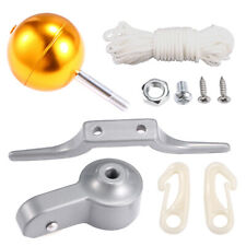 Free Size metal XHXseller flag pole accessory kit 1 piece pulley // 1 piece ball // 1 piece cleat // 1 piece braided rope // 2 pieces screws // 2 pieces plastic brackets not null flag pole repair kit