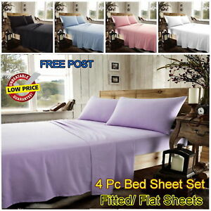 100-Brushed-Cotton-Thermal-Flannelette-Fitted-Flat-Sheets-4Pc-Bed-Sheet-Sets