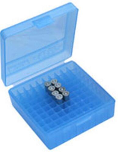 MTM Case-Gard Handgun Ammunition Ammo Storage Box 100 Rnd P-100-44-24 Clear Blue
