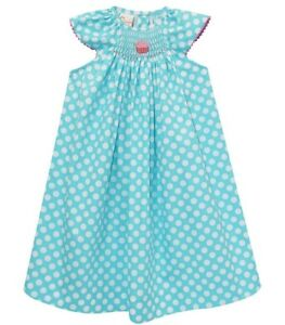 Girls-VIVE-LA-FETE-smocked-boutique-dress-5-NWT-aqua-dots-cupcake-birthday-party