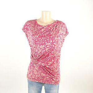 RENE-LEZARD-T-Shirt-Top-Herzen-Hearts-Rot-Beige-Gr-36-S
