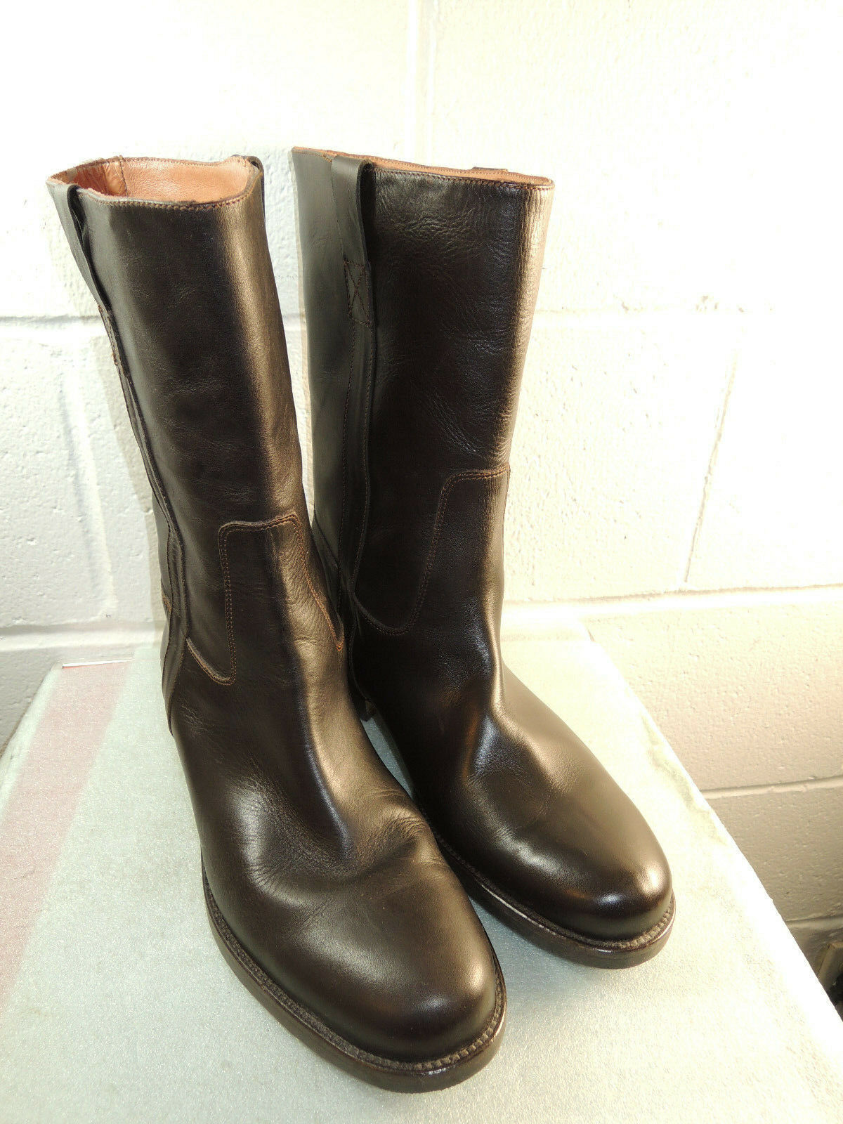 J. Crew Crew Crew 'Brewster' Brown Leather Pull On Mid-Calf Equestrian Boot Women Size 12M e0db02