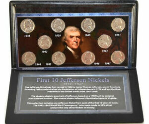 First-Commemorative-Mint-1938-1947-First-10-Jefferson-Nickel-Collection