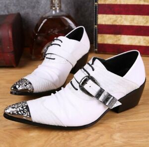 New Men/'s Real Leather Dress Formal shoes Metal Pointed Toe Party Oxford FS19
