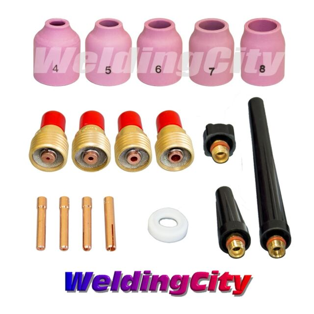 WeldingCity TIG Welding Gas Lens Accessory Kit Cup-Collet-Gas Lens-Gasket-Back Cap for Torch 9//20//25 T39 1//16