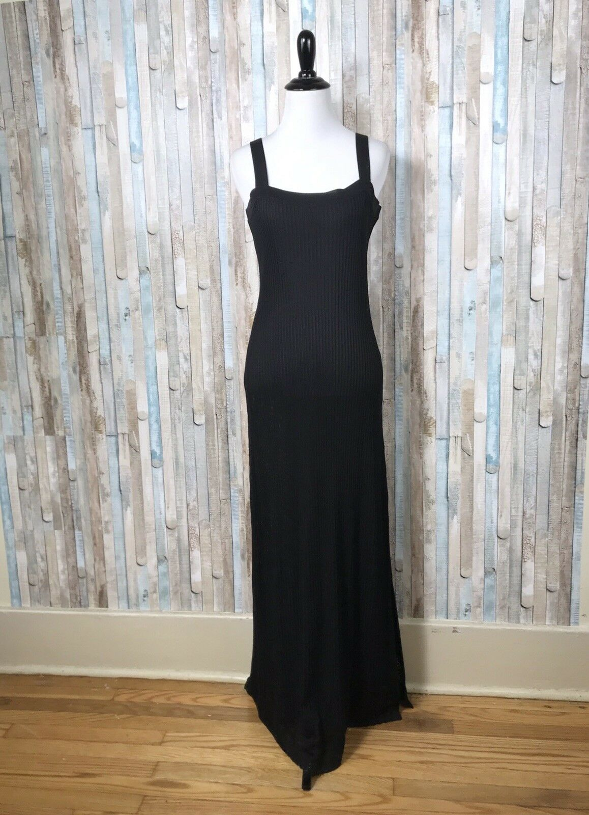 Exclusively Misook M schwarz Ribbed Rib Lace Acrylic Knit Fitted Maxi Dress
