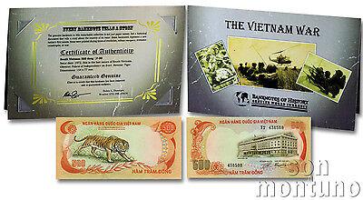 Story//COA Banknote 1972 South Vietnam 500 Dong P33 in Folder THE VIETNAM WAR