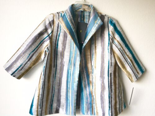 Nwt 228 multicolores rayures sarcelle Ic et à bleu K Collection Veste Connie By wAwqHgr