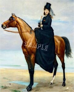 VICTORIAN Lady SIDESADDLE CANVAS Art ~ LARGE ~ Canvas: 13x19 Image: 12.5x15.5