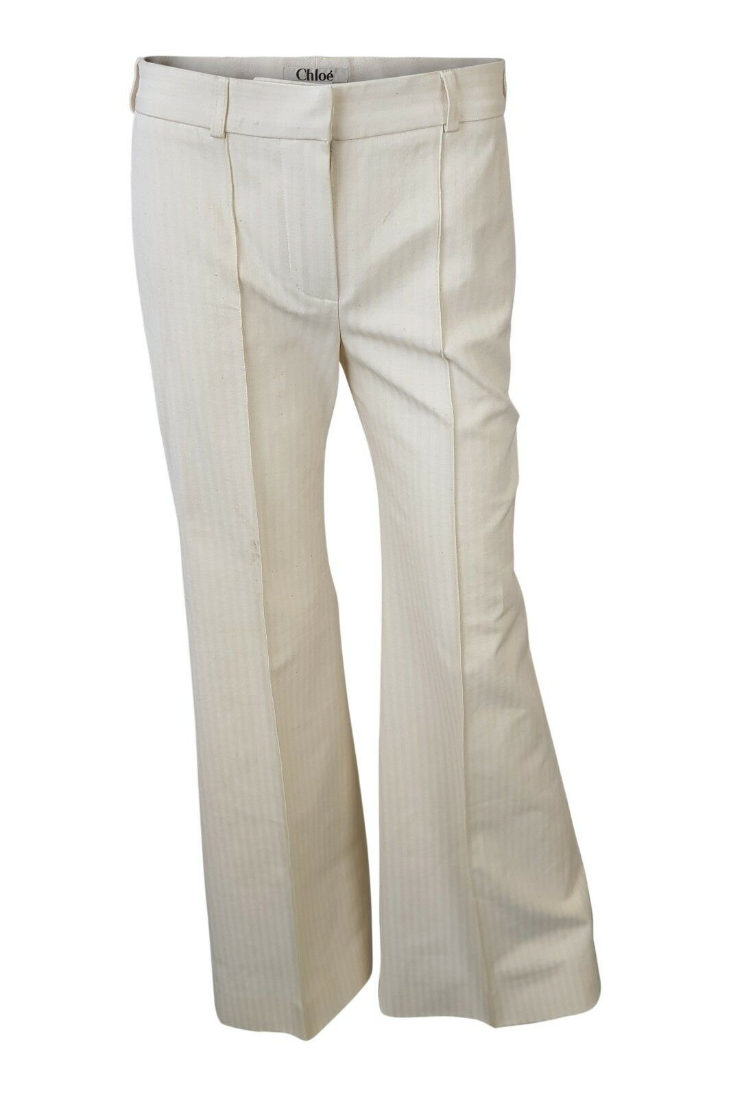 CHLOE COTTON PIN STRIPE BOOTLEG TROUSERS (T 36)