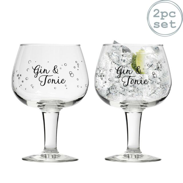 G /& T Gin Cocktail Glasses Final Touch Set of 2 Crystal Gin Balloon Glasses