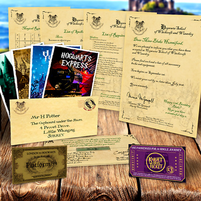 Harry Potter PERSONALISED Gift Set Hogwarts Acceptance Letter & Express Ticket 1
