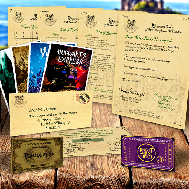Harry Potter PERSONALISED Gift Set Hogwarts Acceptance Letter & Express Ticket 1
