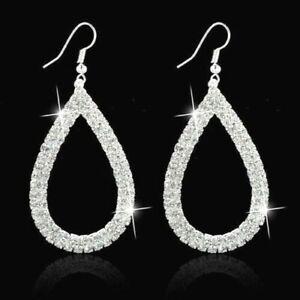 Big-Waterdrop-Crystal-Rhinestone-Trendy-Sparkling-Silver-Diamante-Earrings-UK