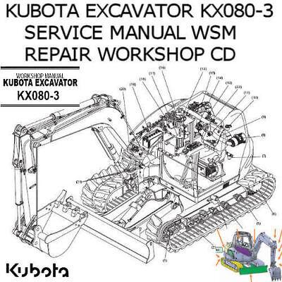 Kubota Excavator KX080-3 Service Manual WSM Repair Workshop PDF CD **Nice**  | eBay