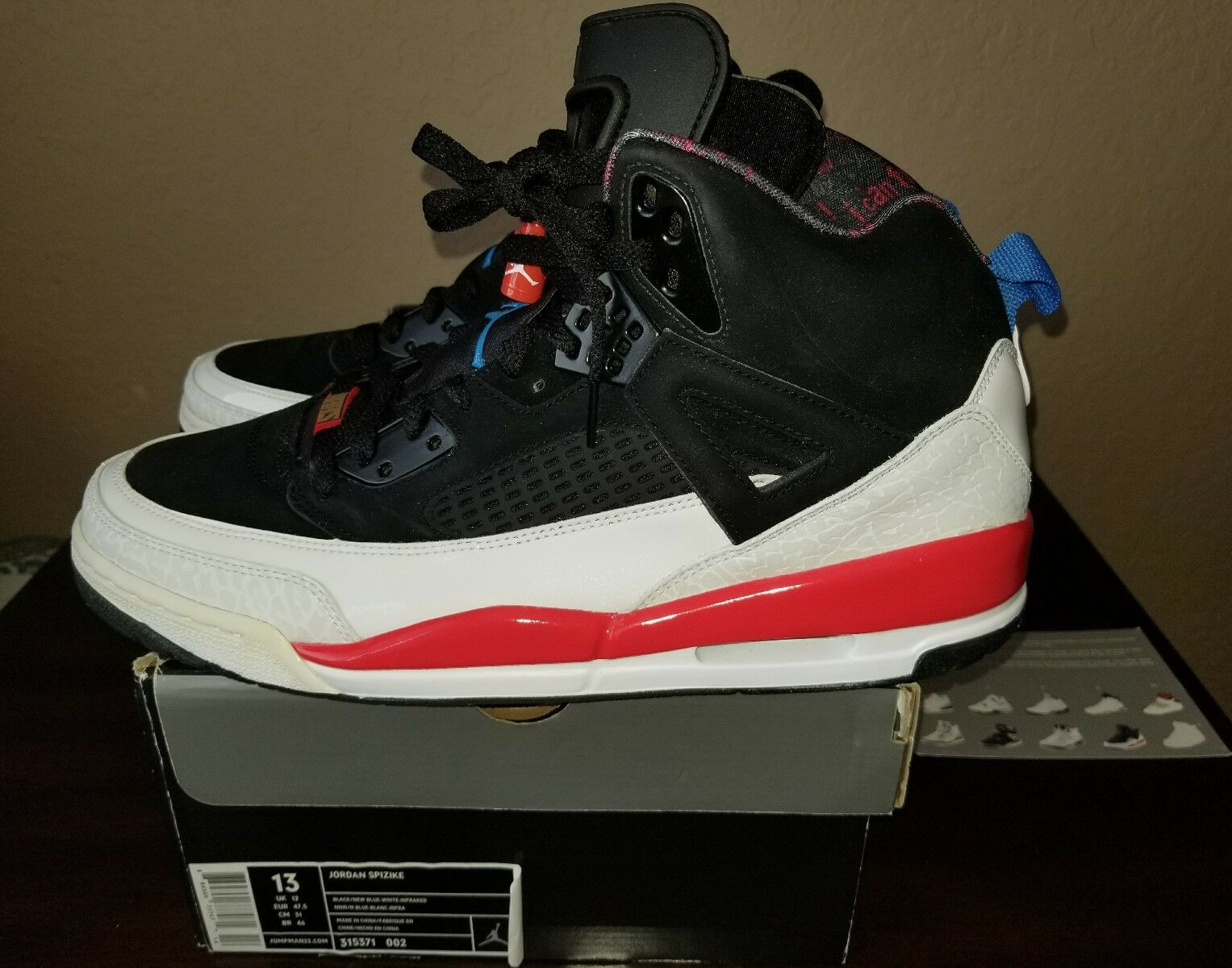 DS NEW 2018 Nike Air Jordan SPIZIKE BLACK WHITE INFRARED CEMENT 315371-002 13 Cheap and beautiful fashion