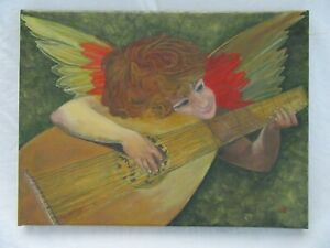 ORIGINAL-OIL-PAINTING-ANGEL-FOLK-ART-LUTE-MUSIC-SIGNED-COUNTRY-PRIMITIVE-CANVAS