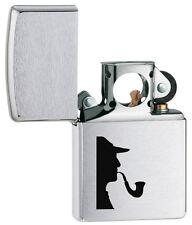 Zippo Genuine Brushed Chrome Sherlock Holmes Windproof Pipe Lighter 205PL 1393