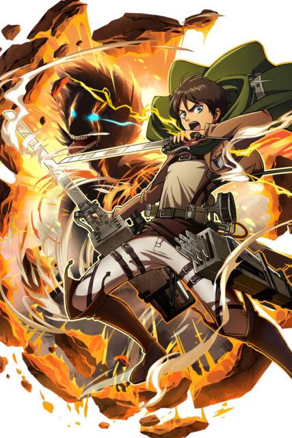 "Attack on TITAN Mikasa Eren 36/"" x 24/"" Large Wall Poster Print Fan Art Anime #01"