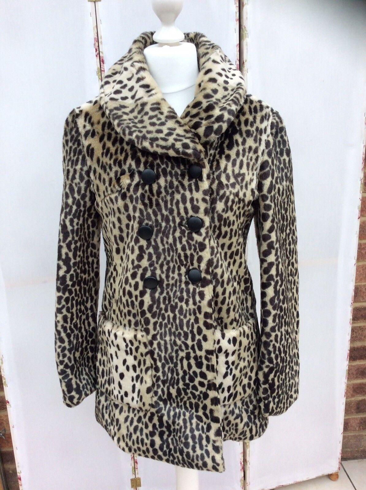 Precioso Spark & Fade Doble Abotonadura Animal de  la impresión del Faux fur abrigo-Bnwt  100% autentico