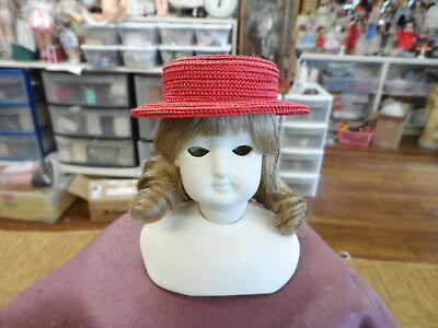 """Straw hat for 12/"""" French Fashion derorate or embellished head Circ 5 3//4/""""  PICK"""