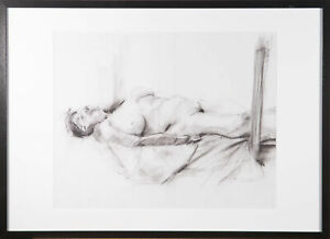 Contemporary Charcoal Drawing - Reclining Female Nude