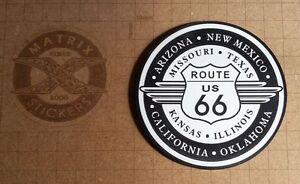 Logo-adhesif-grave-ROUTE-66-USA-Harley-Davidson-8cm-x-8cm-epaisseur-1-6mm