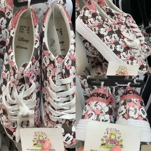 UK 5 Ladies DISNEY Classic Mickey Mouse Primark Casual Trainers Pink White Women
