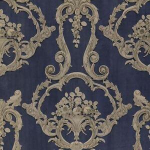 Grosvenor 3D Effekt Blumen Damast Tapete Blau - Debona 6216