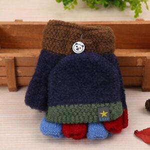 Toddler Magic Winter Wool Knit Mitten Convertible Flip Top Fingerless Gloves US