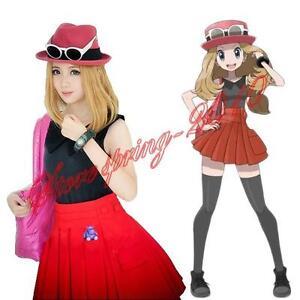 Image is loading New-Anime-Pokemon-XY-Serena-Cosplay-Dress-Costumes-  sc 1 st  eBay & New Anime Pokemon XY Serena Cosplay Dress Costumes Uniform Top + ...