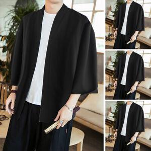 Kimono-Japones-Para-hombres-Camiseta-Floral-Playa-causal-chino-de-Abrigo-Cardigan-Tops-Tee