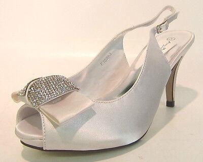 f10254- Damas Anne Michelle TIRA TRASERA Tribunal Zapato 2 COLORES white&pewter.