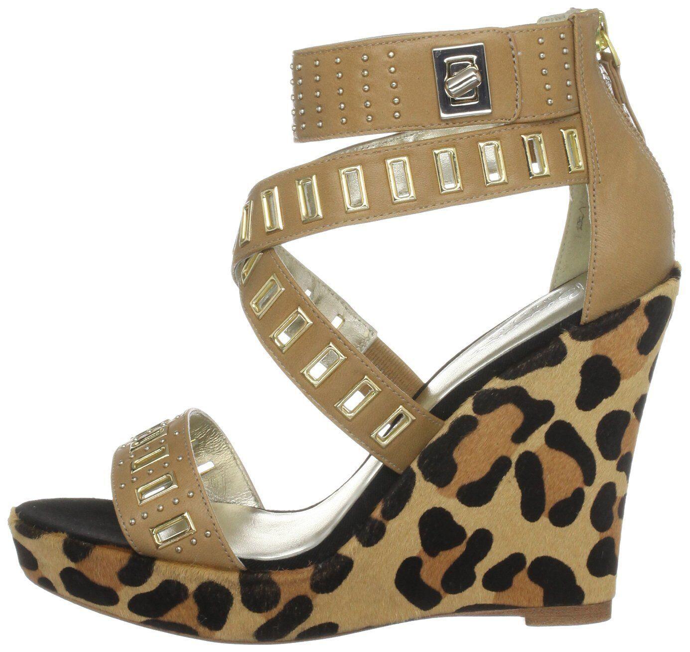 Millones de EUR Talle 5   6.5 Bourne Bourne Bourne Nadine Leopardo Pony Piel Skin Cuña Zapatos Sandalias  conveniente