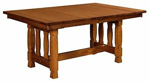 Amish Rock Island Trestle Transitional Mission Dining Kitchen Table Solid Wood