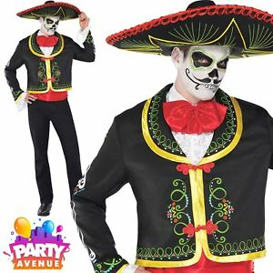 Homme le jour des morts Senor Halloween Costume Fancy Dress Costume Taille standard