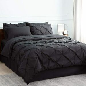 Bedsure-Comforter-Set-Twin-Bed-in-A-Bag-Black-6-Pieces-1-Pinch-Pleat-Comforter