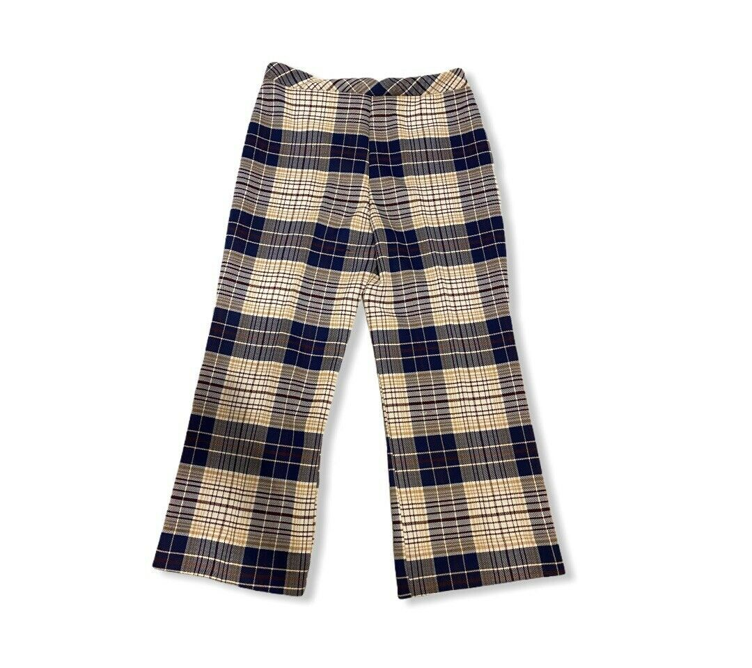Vintage Mod Palazzo Shorts  Polyester Plaid Palazzo Pants  Vintage 60s Palazzo Shorts
