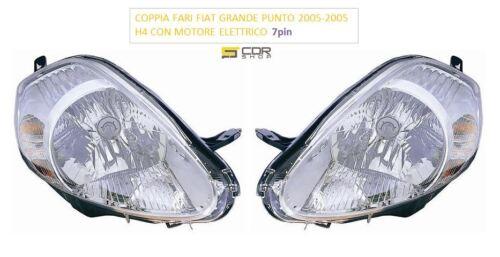 COPPIA FANALI ANTERIORI FIAT GRANDE PUNTO DAL 2005 AL 2008  DX e SX H4 7 PIN