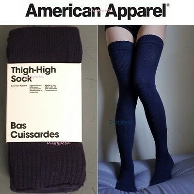 American Apparel Thigh High Socks Blue Grey Black White Over Knee New Package Ebay