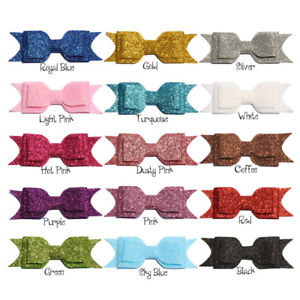 20pcs 9.5cm Three Layers Glitter Gold Powder Hair Bows Shiny Hairbows No Clips Demande DéPassant L'Offre